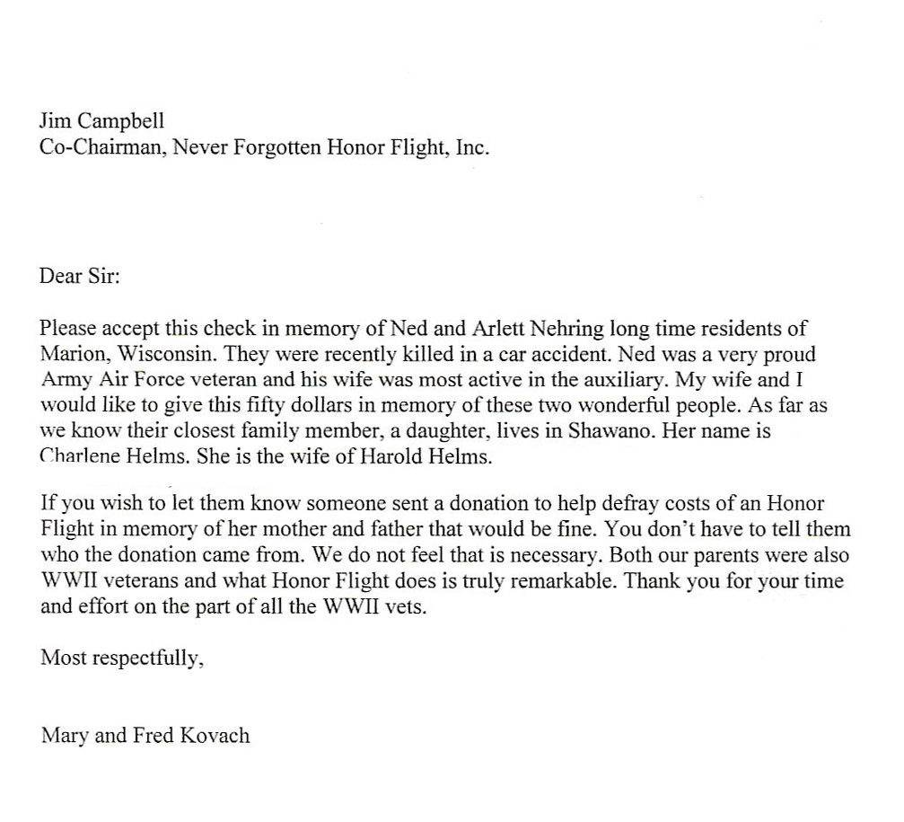 honor flight letter examples never forgotten honor flight we fly our veterans to see 11177